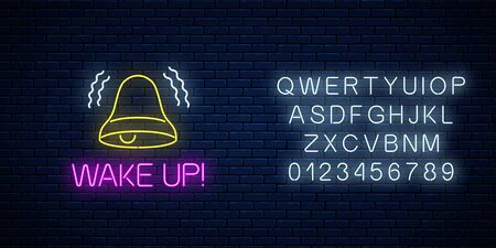 Glowing neon sign with ringing bell and wake up text with alphabet on dark brick wall background. Call to action symbol with cheering inscription. Its time to wake up. Vector illustration.