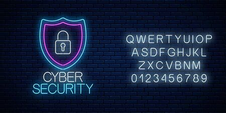 Cyber security glowing neon sign with alphabet on dark brick wall background. Internet protection symbol with shield and padlock. Vector illustration.