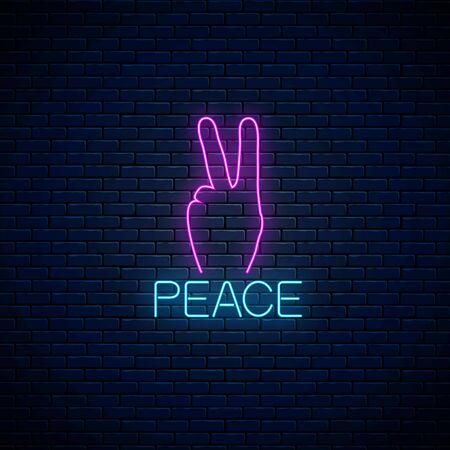 Glowing neon sign of peace gesture on dark brick wall background. Vector illustration of hippie symbol in neon style.