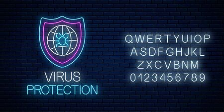 Virus protection glowing neon sign with alphabet on dark brick wall background. Internet cyber security symbol with shield, globe and hacker bug. Vector illustration.