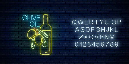 Glowing neon sign of olive oil with alphabet on dark brick wall background. Natural organic food symbol with green olives and bottle. Vector illustration.
