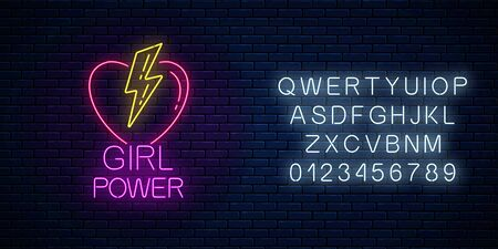 Girls power sign in neon style with alphabet on dark brick wall background. Glowing symbol of female slogan with heart and lightning shapes. Women rights. Vector illustration. Çizim