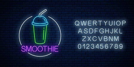 Neon glowing sign of smoothie in circle frame with alphabet on a dark brick wall background. Fastfood light billboard symbol. Cafe menu item. Vector illustration. Çizim