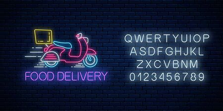 Glowing neon food delivery sign with delivering scooter with alphabet on dark brick wall background. Fast delivery symbol in neon style. Fast food concept illustration. Vector. Çizim