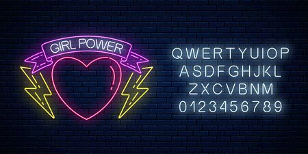 Girls power sign in neon style with alphabet on dark brick wall background. Glowing symbol of female slogan in ribbon with heart and lightning shapes. Women rights. Vector illustration.