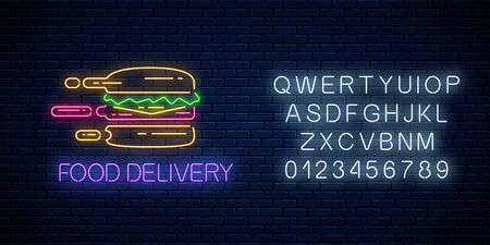 Glowing neon food delivery sign with hurrying burger with alphabet on dark brick wall background. Fast delivery symbol in neon style. Fast food concept illustration. Vector.