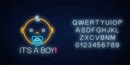 Glowing neon sign of baby boy birth celebration with alphabet on dark brick wall background. Newbaby birthday congratulations signboard in neon style. Vector illustration. Çizim