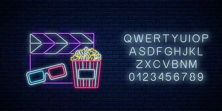 Neon sign of cinema night with alphabet. Cinema time neon logo, signboard, banner with popcorn, 3D glasses and movie clapperboard on brick wall background. Vector illustration