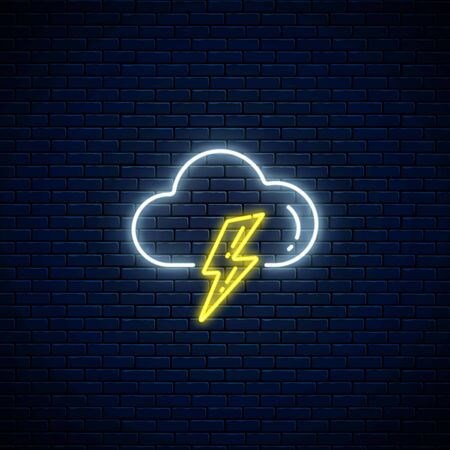 Glowing neon thunderstorm weather icon on dark brick wall background. Storm symbol with cloud and lightning in neon style to weather forecast in mobile application. Vector illustration.