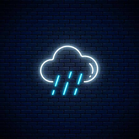 Glowing neon rainy weather icon on dark brick wall background. Rain symbol with cloud in neon style to weather forecast in mobile application. Vector illustration.