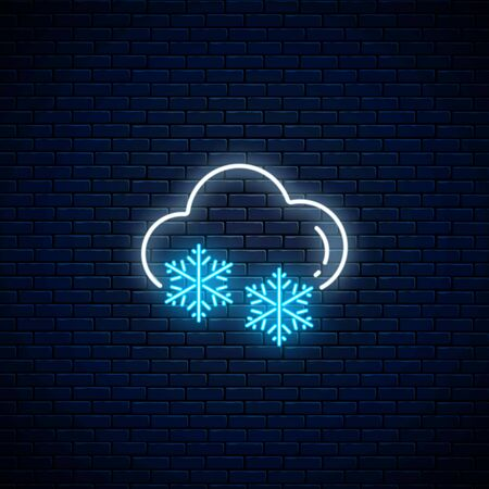 Glowing neon snowy weather icon on dark brick wall background. Snowflake symbol with cloud in neon style to weather forecast in mobile application. Vector illustration. Illustration