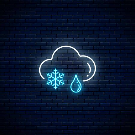 Glowing neon snow with rain weather icon on dark brick wall background. Snowflake and rain drop symbols with cloud in neon style to weather forecast in mobile application. Vector illustration. Illustration