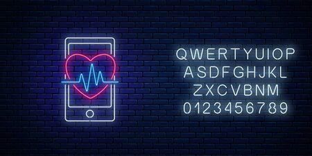 Glowing neon sign of healthy mobile app with alphabet. Heart shape with pulse graph on smartphone screen symbol in neon style. Online doctor. Vector illustration.