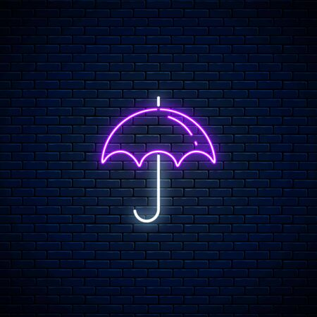 Glowing neon umbrella weather icon on dark brick wall background. Umbrella symbol in neon style to weather forecast in mobile application. Vector illustration. Çizim