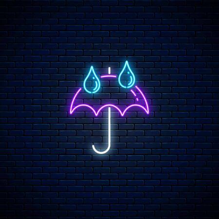 Glowing neon umbrella with rain drops weather icon on dark brick wall background. Umbrella symbol with drops of rain in neon style to weather forecast in mobile application. Vector illustration.