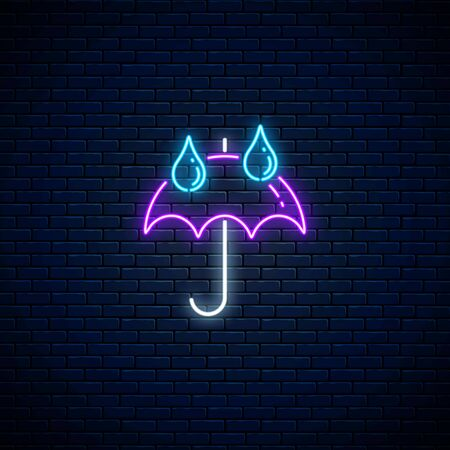 Glowing neon umbrella with rain drops weather icon on dark brick wall background. Umbrella symbol with drops of rain in neon style to weather forecast in mobile application. Vector illustration. Illustration