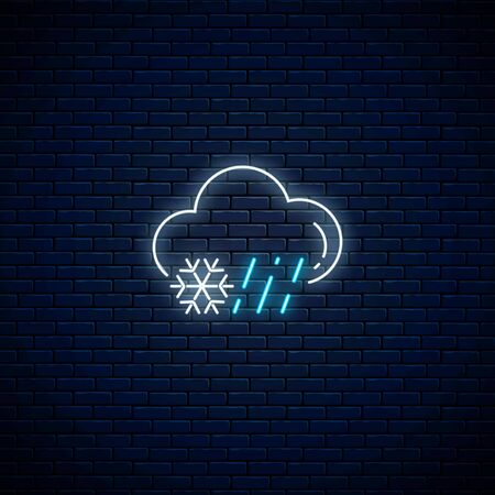 Glowing neon rainy and snowy weather icon on dark brick wall background. Rain and snow symbol with cloud in neon style to weather forecast in mobile application. Vector illustration.