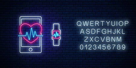 Glowing neon sign of healthy mobile app with alphabet. Heart shape with pulse graph on smartphone screen and smart watch with health app in neon style. Online doctor. Vector illustration. Фото со стока - 130656361