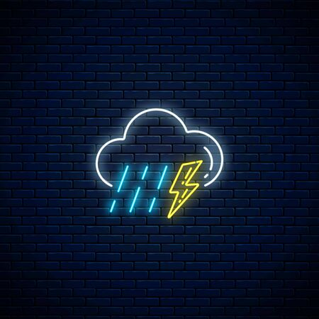 Glowing neon thunderstorm with rain weather icon on dark brick wall background. Storm and rain symbols with lightning in neon style to weather forecast in mobile application. Vector illustration. Illustration