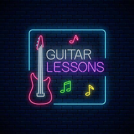 Guitar lessons glowing neon poster or banner template. Guitar training advertising flyer in neon style on dark brick wall background. Vector illustration. Stock Illustratie