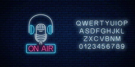 Neon on the air sign with microphone and headphones with alphabet on dark brick wall background. Glowing signboard of radio station. Sound cafe icon. Music show poster. Vector illustration.