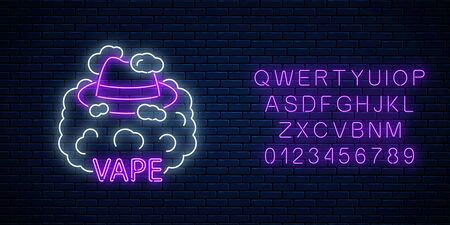 Neon signboard of vape shop or club with alphabet on dark brick wall background. Glowing neon sign with man hat in vape smoke. Vaping shop symbol. Vector illustration.