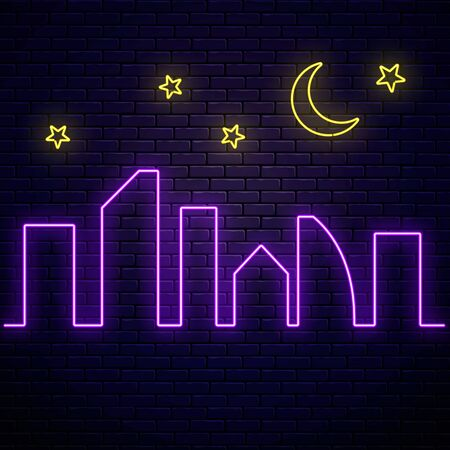 Glowing neon city banner with stars and moon on dark brick wall background. Town symbol poster in neon style with glowing skyscrapers silhouettes. Vector illustration.