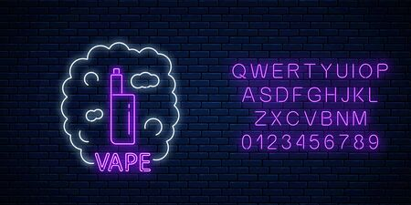 Neon signboard of vape shop or club with alphabet on dark brick wall background. Glowing neon sign with vape kit and smoke. Vaping shop symbol. Vector illustration.