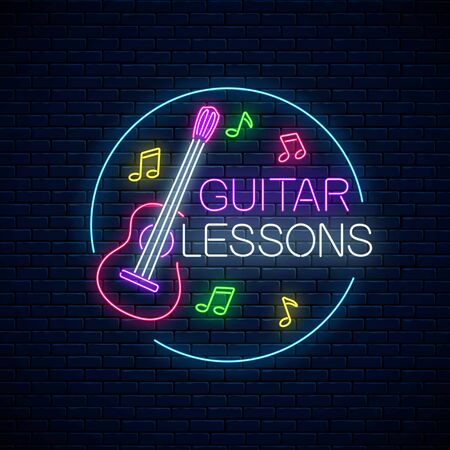 Guitar lessons glowing neon poster or banner template. Guitar training advertising flyer with circle frame in neon style on dark brick wall background. Vector illustration.
