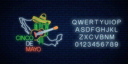 Neon sinco de mayo sign with mexico map with alphabet on dark brick wall background. Mexican festival flyer design with guitar, cactus and sombrero hat. Vector illustration.  イラスト・ベクター素材