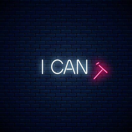 I can motivation quote with falling T letter to read i can instead i cant glowing neon illustration. Positive attitude concept symbol in neon style. Vector illustration. Ilustrace
