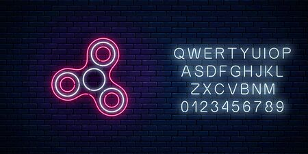 Glowing neon sign of fidget spinner with alphabet on dark brick wall background. Hand rotation anti stress toy for relax. Twist bauble to making tricks. Neon style vector illustration.  イラスト・ベクター素材