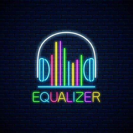 Neon headphones symbol with band equalizer with different colors. Music and singing visualization icon with earphones in neon style. Vector illustration. Music store banner with soundwave Иллюстрация