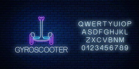 Glowing neon sign of electric gyro scooter with alphabet. Two-wheeled gyro-scooter eco transport. Vector illustration. Self-balancing hover board symbol on dark brick wall background.