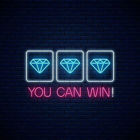 You can win - glowing neon motivation phrase with three diamonds on slot machine. Slot machine win combination with diamond and text in neon style. Vector illustration. Çizim
