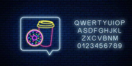 Glowing neon sign of doughnut and coffee cup in message notification frame with alphabet on dark brick wall background. Food and drink symbol in speech bubble in neon style. Vector illustration. Stock Illustratie