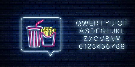 Glowing neon sign of french fries and soda drink cup in message notification frame on dark brick wall background. Food and drink symbol in speech bubble in neon style. Vector illustration. Foto de archivo - 135388906