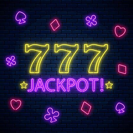 Jackpot - glowing neon motivation sign with three seven on slot machine. Slot machine 777 win combination in neon style. You ate lucky. Vector illustration.