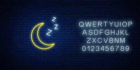 Glowing neon sleepy moon icon with zzz symbol with alphabet. Sleeping crescent in neon style to weather forecast in mobile application. Vector illustration. Ilustracja