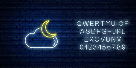 Glowing neon cloudy with moon weather icon with alphabet. Cloud symbol with moon in neon style to weather forecast in mobile application. Vector illustration. Ilustracja