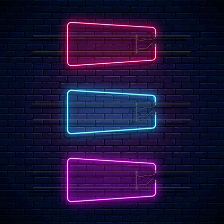 Glowing neon frames on dark brick wall background. Neon light banners set. Realistic glow sign board. Vector illustration. Glowing borders for empty place for text or inscription.