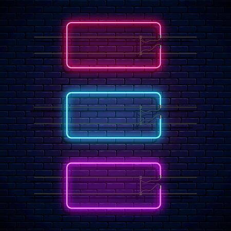 Glowing neon rectangle frames on dark brick wall background. Neon light banners set. Realistic glow signboard. Vector illustration. Glowing borders for empty place for text or inscription. Ilustração