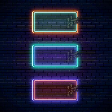 Glowing neon double rectangular frames on dark brick wall background. Neon light banners set. Realistic glow sign board. Vector illustration. Glowing borders for empty place for text or inscription.