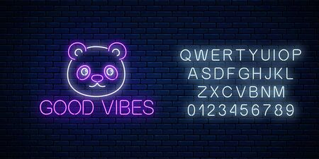 Good vibes glowing neon inscription phrase with cute panda head with alphabet. Motivation quote good vibes in neon style. Vector illustration. Stock fotó - 135214991