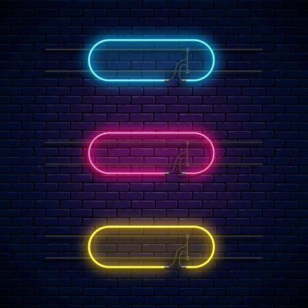 Glowing neon vector frames. Neon light banners set. Realistic glow signboard. Vector illustration. Glowing borders with empty place for text or inscription.
