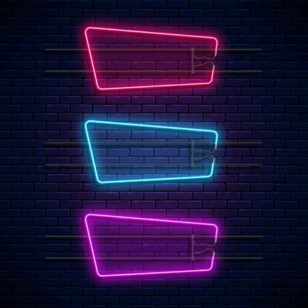 Glowing neon geometric frames. Neon light banners set. Realistic glow sign board. Vector illustration. Glowing borders for empty place for text or inscription.