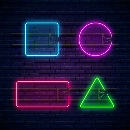 Glowing neon frames square, circle, rectangle, triangle shapes. Neon light banners set. Realistic glow signboard. Vector illustration. Glowing borders for empty place for text or inscription Ilustração