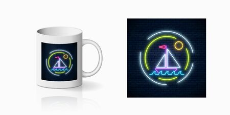 Neon summer print with sailing ship in ocean in round frames for cup design. Shiny summertime symbol, design, banner in neon style on mug mockup. Vector shiny design element