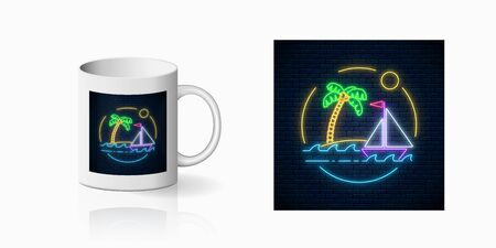 Neon summer print with sailing ship and island with palm in ocean in round frames for cup design. Shiny summertime symbol, design, banner in neon style on mug mockup. Vector shiny design element