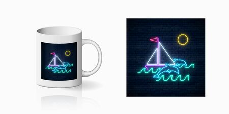 Neon summer print with sailing ship and dolphins in ocean in round frames for cup design. Shiny summertime symbol, design, banner in neon style on mug mockup. Vector shiny design element